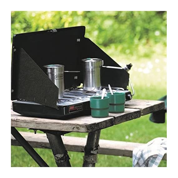 Stanley Camp 24oz. Cook Set 6 Stainless steel, single-wall cooking pot with vented lid and two-position handle. Two 10oz. insulated plastic cups. Dishwasher safe.