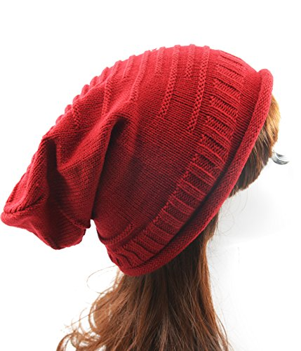 Century Star Unisex Winter Warm Slouchy Cozy Stretchy Crochet Knitted Baggy Hemming Beanie Red