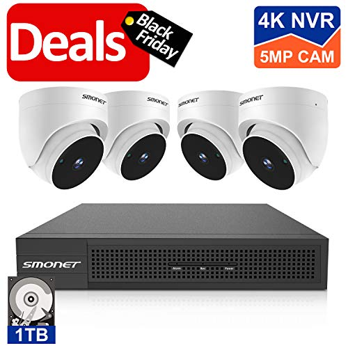 5MP 8CH PoE NVR Security Camera System, SMONET 4pcs Wired Outdoor Indoor Dome IP Cameras,8-Channel Video Surveillance System(1TB Hard Drive),24/7 Recording for NVR Kits,Super Night Vision,P2P,Free APP