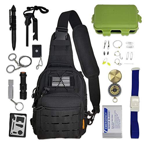 Cross-Body Tactical Sling Bag with Survival Gear & Emergency Tools | Small EDC Messenger Shoulder Sling Backpack Gift Set (Survival Bag Bundle)