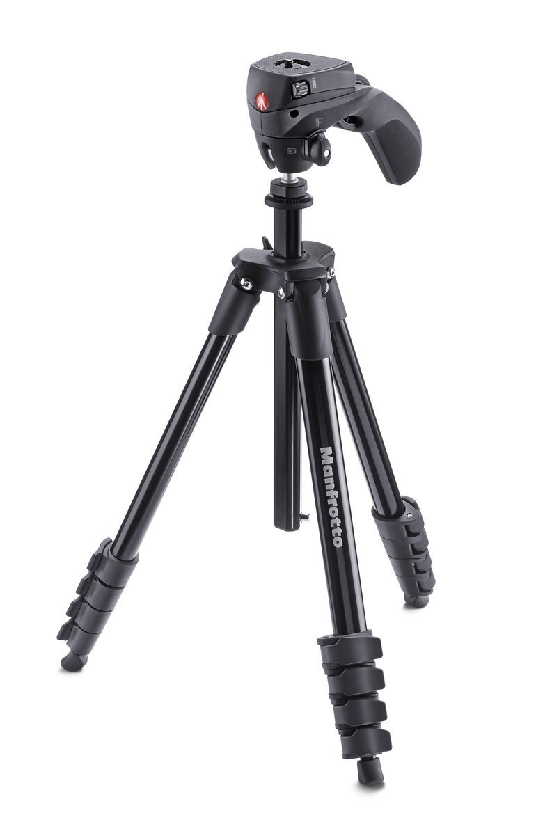 Manfrotto MKCOMPACTACN-BK Compact Action Tripod, Includes A Bonus ZAYKiR Tripod Strap with Two Quick-Release Loops by Manfrotto