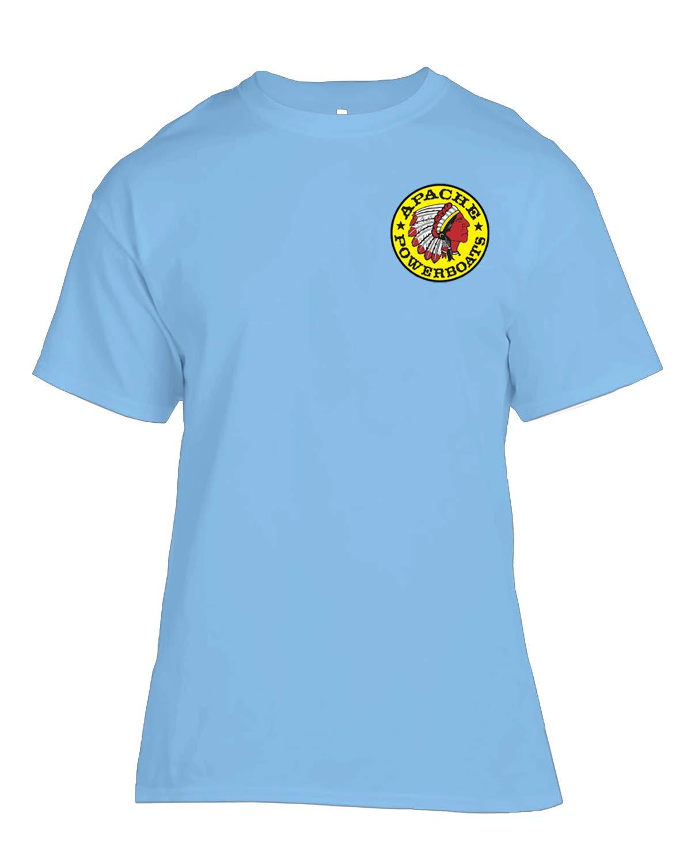 Apache Powerboats - Silk Screen T-Shirts - 100% Cotton Short Sleeve T-Shirt (XXXL-Light Blue) by Apache Powerboats