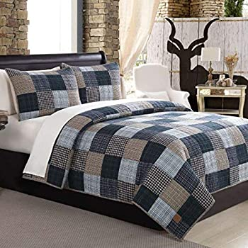 BEAUTIFUL COZY TAN BEIGE BLUE RED GREEN COUNTRY CABIN PLAID COTTON QUILT SET