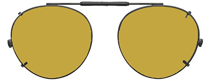 Visionaries Polarized Clip on Sunglasses - Round - Gold ...