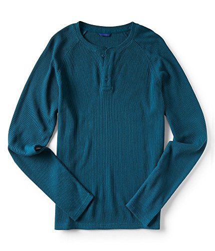 Aeropostale Mens Henley Thermal Sweater, Blue, Small ()