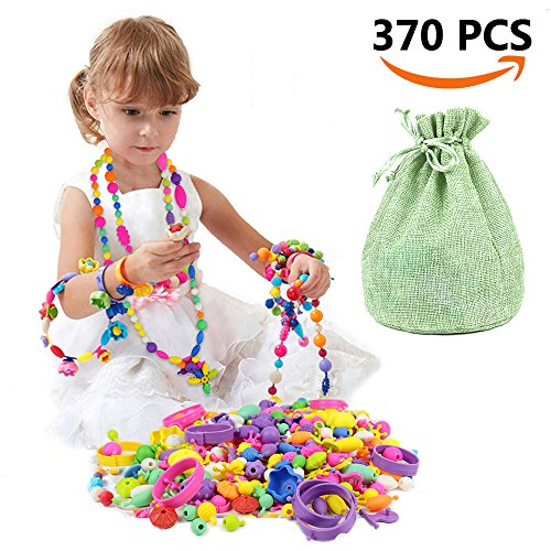 Old Plastic Beads (SIMPZIA 370 Pcs Pop Snap Beads Set - Toy Pop Beads Jewelry Making Kit for Rings, Bracelets, Necklaces - Educational Pop-Arty Beads for Girls, Toddlers, Kids & Christmas Gift)