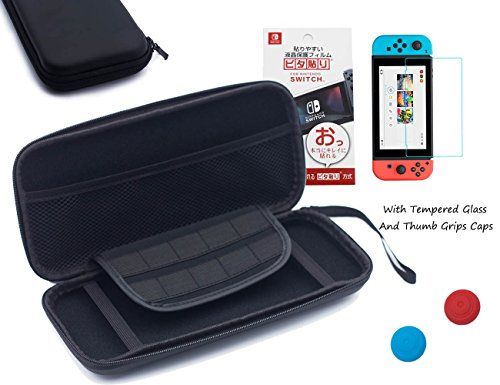 BRH Nintendo Switch Case with Tempered Glass Screen Protector, EVA Hard Travel Carrying Case 10 Game Cartridge Shock/Water Proof Protective Storage Console Accessories