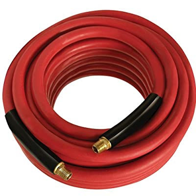 "Apache 98108944 3/8"" x 100' 300 PSI Red Rubber Air Hose Assembly with 1/4"" Male Pipe Thread Fittings & Bend Restictors"