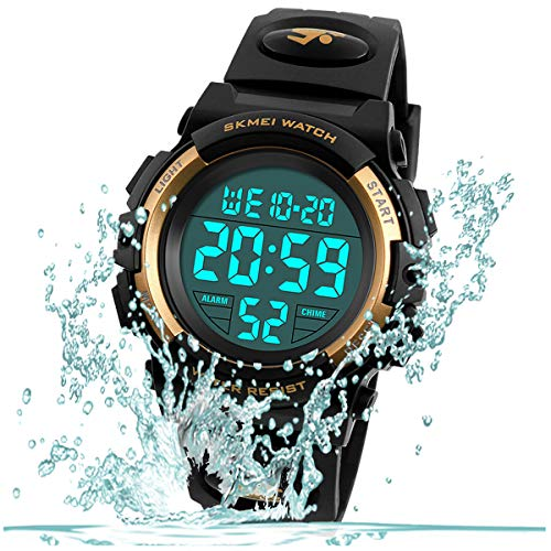 Kid Watch for Boy Girl Child Multi Function Digital LED Sport 50M Waterproof Electronic Analog Quartz Watches Gift Black Gold