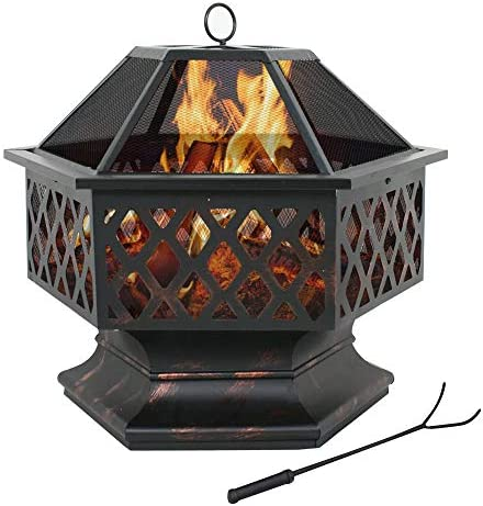 F2C Outdoor 24 inch Hex Shaped Fire Pit Wood Burning w/Flame-Retardant Mesh Lid