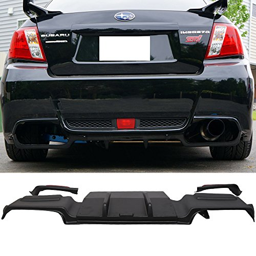 (Rear Bumper Lip Diffuser Fits 2011-2014 Subaru Impreza 4 Door Sedan | Unpainted Black ABS Lower Air Flow Diffuser Splitter by IKON MOTORSPORTS | 2012 2013)