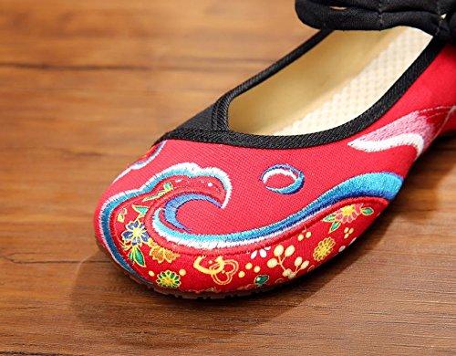 WHH Zapatos bordados, carpa, lino, lenguado, estilo étnico, femenino, moda, cómodo, bailando zapatos red black