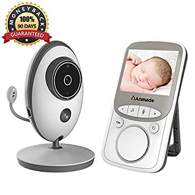 Video Baby Monitor Wireless with Digital Camera,Anmade 2 Way Talkback, 2.4inch Screen Night Vision Temperature Monitoring Lullabies Long Range and High Capacity Battery for Security from Anmade