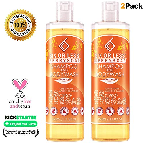 Six or Less Berrysoap Natural 2 in 1 Baby Shampoo & Body Wash, Only 6 Ingredients, Chemical-Free, Dye, Paraben, Gluten, Sulfate Free, Vegan Eczema Friendly Soap, Created by a Doctor, 2 Pack (30 oz)