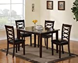 Coaster Home Furnishings Casual Dining Room 5 Piece Set, Brown and Cherry/Dark Brown