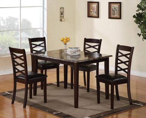 Coaster Home Furnishings Casual Dining Room 5 Piece Set, Brown and Cherry/Dark Brown by Coaster Home Furnishings