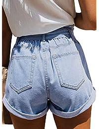 Aleumdr Pantalones vaqueros para dama con cinturón de verano, pantalones de cintura alta, ajuste relajado, bolsa de papel, cintura clásica, pantalones vaqueros (S-2XL)