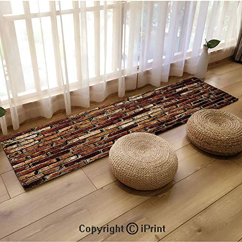 Flannel Kitchen Carpet,Old Grunge Brick Wall Aging Construction Rustic Home Structure Dirty Facade Decorative Brown Chesnut Brown,18