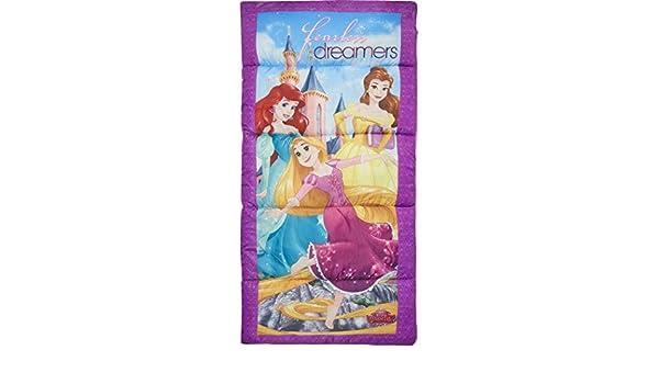 AM Kids - Saco de dormir para niñas, diseño de princesas de Disney, color morado, diseño de Belle Ariel Repunzel Disneys Princesa Character, ...