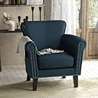 Brently Vintage Scroll Arm Studded Navy Blue Fabric Club Chair