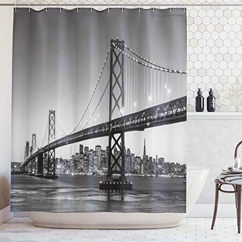 Ambesonne Apartment Decor Collection, Sun Setting View of San Francisco Bay Bridge California USA Tourist Attraction Image, Polyester Fabric Bathroom Shower Curtain Set, 75 Inches Long, Gray