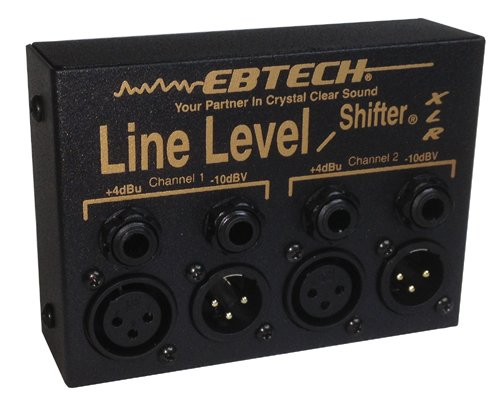 Ebtech LLS-2-XLR Line Level Shifter 2-Channel Box with XLR Jacks - Unbalanced Line Level Equipment