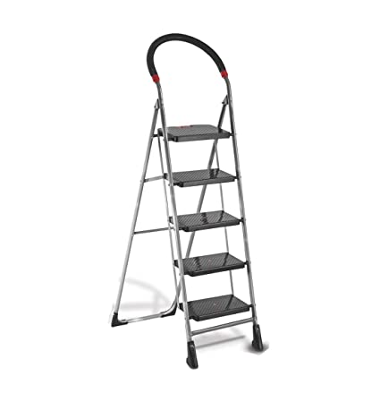 Meded CGS Heavy Safe, Secure and Top 5 Step Folding Home Steel Ladder with 7 Years