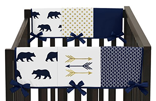 Sweet Jojo Designs 2-Piece Navy Blue Gold and White Big Bear Side Crib Rail Guards Baby Teething Cover Protector Wrap