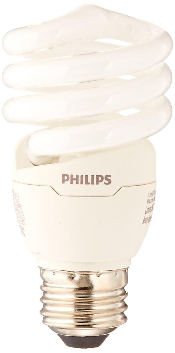 Philips 420091 823031 CFL Light Bulb 13W T2 Twister Daylight 6500K, 60 Watt Equivalent 4-Pack