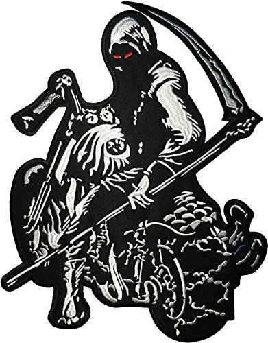 Pigs In A Blanket Costume Diy ([Large Size] Papapatch Grim Reaper Motorcycle Riding Rider Biker Skull Ghost God Of Death Devil Satan Costume DIY Applique Embroidered Sew on Iron on Patch (IRON-GRIM-RIDE-LARGE))