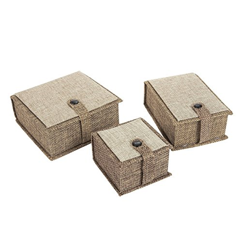 - Jewelry Gift Box Set – 3 Piece Linen Jewelry Boxes for Rings, Pendants, Necklaces, Brown, 3 Assorted Sizes