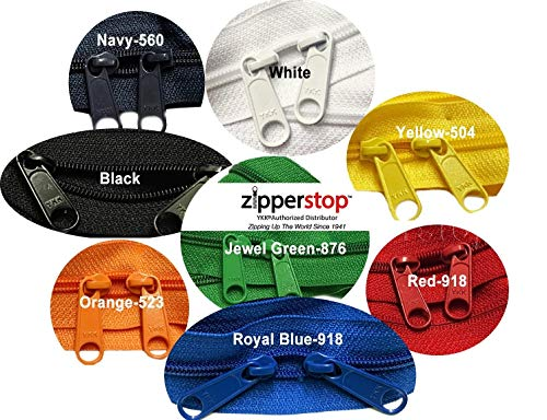 Zipperstop wholesale - Double Slide Zipper YKK #4.5 Coil with Two Long Pull Head to Head closed ended on both sides Made in USA (30 Inch, Mixed 8 ()