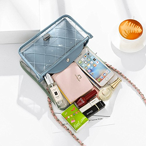 female casual 2018 summer bag Fashion bag transparent bag chain Messenger Green Jelly plaid jelly shoulder 4AYRtwYrq
