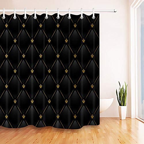 youyoutang Black & Gold Leather Pattern Shower Curtain Liner Waterproof Fabric 3D High-Definition Printing Does Not Fade 12 Shower Hooks 180X180CM Home Decor Bathroom Accessories (Leather Curtains Black)