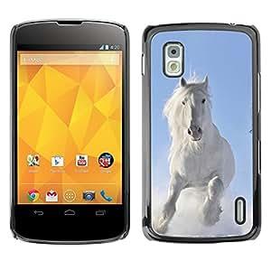 Exotic-Star Fundas Cover Cubre Hard Case Cover para LG Google NEXUS 4 / Mako / E960 ( Majestic blanca del caballo del invierno )