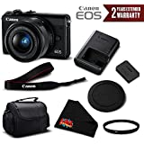 Canon EOS M100 Mirrorless Digital Camera with 15-45mm Lens (Black) 2209C011 International Version (No Warranty) - Essential Bundle
