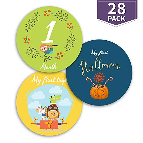 (EmmaSweetie Baby Monthly Milestone Stickers | Self-Adhesive Photo Shoot Accessories to Celebrate Baby's First Year | Vibrant Colors & Unique Designs That Stand Out | 12 Months + 16 Bonus)