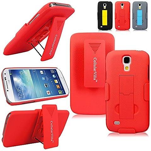 Samsung Galaxy S4 Mini - Cellularvilla Hard Soft Dual Layer Hybrid Armor Shell Holster Kickstand Combo Case with Locking Belt Swivel Clip Cover for Samsung Galaxy S4 S IV Mini i9190 (Peach (Cell Phone Cases Galaxy S 4 Mini)