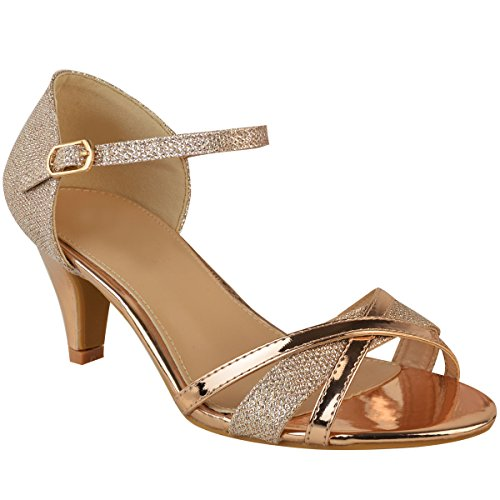 Gold Sandals Thirsty Strappy Bridal Metallic Womens Rose Heel Size Fashion Mid Party Wedding Shoes nXY767d8
