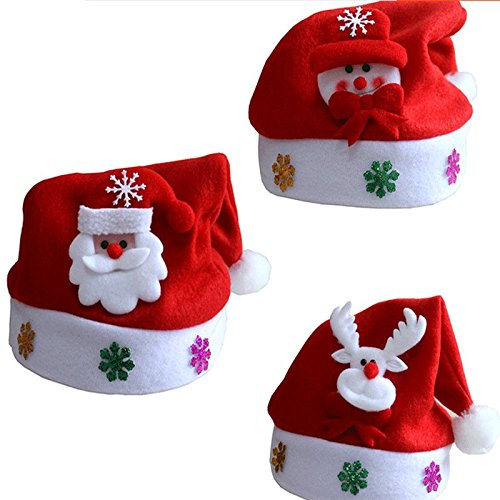 (XONOR (Pack of 3) Red and White Christmas Hats Santa Claus Snowman Deer Hats for Children, Non-Woven Christmas Hats for Celebrations and Recreation)