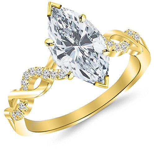 0.76 Carat t.w. 14K Yellow Gold Marquise Twisting Infinity and Diamond Split Shank Pave Set Diamond Engagement Ring G/SI1 Clarity Center Stones.