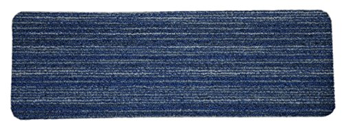 Dean Affordable Non-Skid DIY Peel & Stick Carpet Stair Treads - Color: Clever Intellect Blue & Gray - Set of 15 (Best Colour Carpet For Stairs)