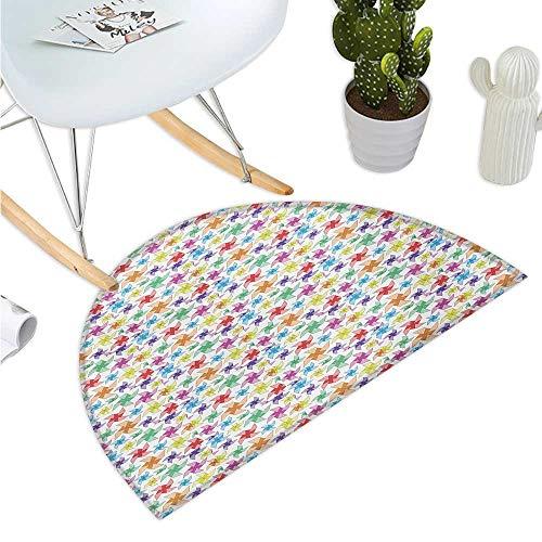 Pinwheel Half Round Door mats Vibrant Childish Kids Cheerful Toys Spring Playroom Nursery Fun Play Joyful Image Bathroom Mat H 23.6