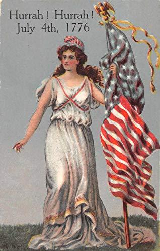 July 4th Greetings Columbia with US Flag Patriotic Vintage Postcard JJ649261