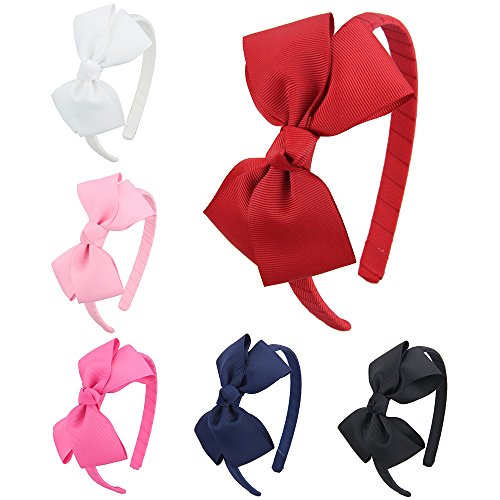 7Rainbows Girls Boutique Grosgrain Ribbon Headband with Bows(6 pieces a set) (FS011-2) (Girls Headband)