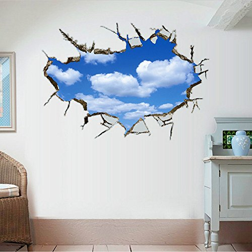 WOCACHI Wall Stickers Decals 3D Blue Sky and White Clouds Background Wall Decoration Removable Wall Stickers Art Mural Wallpaper Peel & Stick Removable Room Decoration Nursery Decor