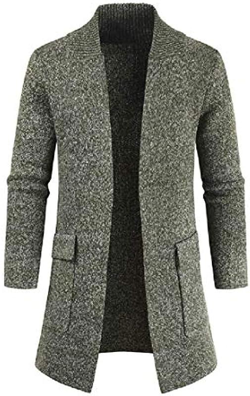 HenShiXin Bieten Mens-Winter-Lange Hülsen-geöffnete Fronttaschen Knit Sweater Cardigan Mantel Schnell (Color : Army Green, Size : Small): Küche & Haushalt