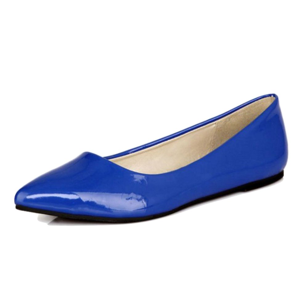 Smilice Women Flats Patent Leather Pointed Toe Slip-on Shoes 6 Colors Available Size 1-13 US B06XCX292F 42 EU = US 10 = 26 CM|Blue