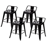 "Cheap BestMassage 24"" Metal Frame Tolix Style Bar Stools Industrial Chair with Back, Set of 4"