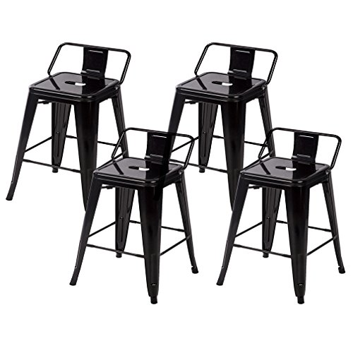 BestMassage 24 Metal Frame Tolix Style Bar Stools Industrial Chair with Back, Set of 4